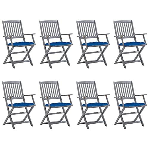 vidaXL 8 sedie da giardino in legno di acacia massiccio, pieghevoli con cuscini, sedie pieghevoli con braccioli