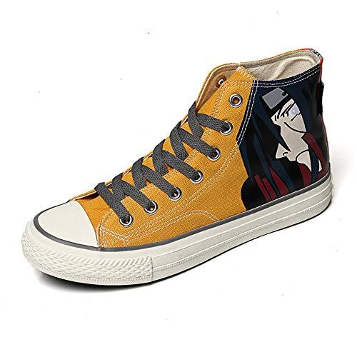 Csqw zeildoekschoenen voor unisex kinderen en jongeren gymschoenen cosplay schoenen canvas schoenen sneakers voor vrouwen en mannen Naruto schoonmaken ogen hoog, geel
