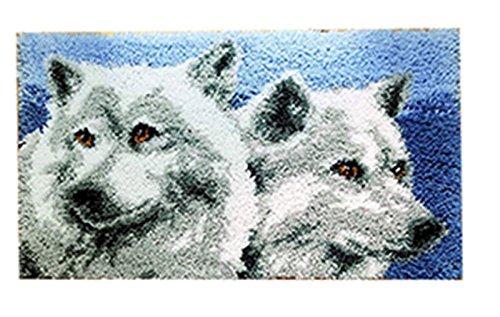 Beyond Your Thoughts 8 Modell Wolf Knüpfteppich für Kinder und Erwachsene zum Selber Knüpfen Teppich Latch Hook Kit Child Rug Animal 570 50 by 38 cm