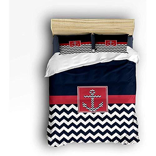 N/A 3 Stück Bettwäsche Set, Navy Chevron Anker Bettbezug Set Quilt für Kinder/Kinder/Jugendliche/Erwachsene Queen Size 86 'x 70'