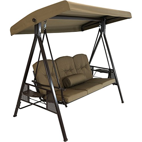 Sunnydaze 3-Person Outdoor Patio Swing Bench with...