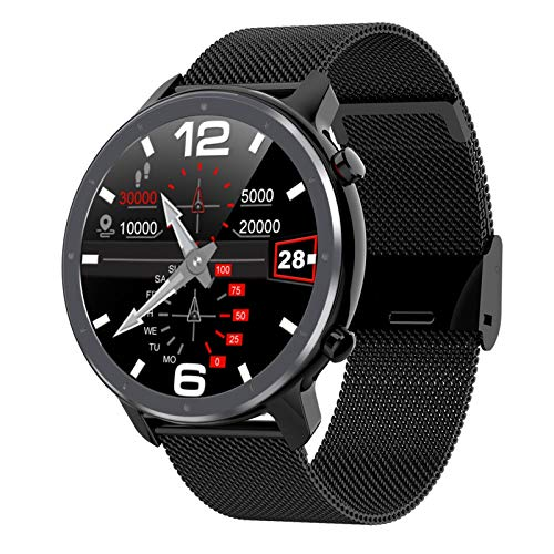 XXY Neue DIY Uhr Uhr Gesicht Männer Smart Watch L11 EKG & 24 Stunden Herzfrequenz Monitor IP68 wasserdichte Smart Band Support Multi-Sports (Color : Black Metal)