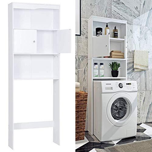 SHUANGJUN Badschrank Waschmaschinenschrank Hochschrank Badezimmerschrank Waschmaschine Überbau Bad Regal Badregal Kabinett Mehrzweckschrank 173.5 * 62.5cm Weiß/Grau Waschmaschine Schrank (Weiß)