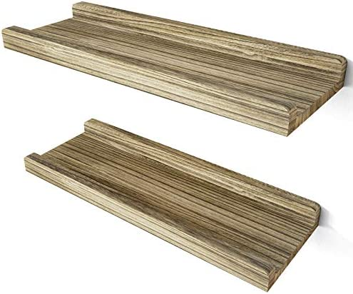 Love KANKEI Floating Shelves Wall Mounted Set of 2 Rustic Wood Wall Shelves for Bedroom Living product image