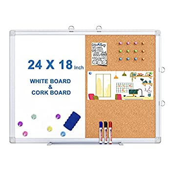 Magnetic White Board and Cork Board Combo 24 X 18 inches Whiteboard Bulletin Combination Board Wall Mounted Dry Erase Message Board for Home School and Office