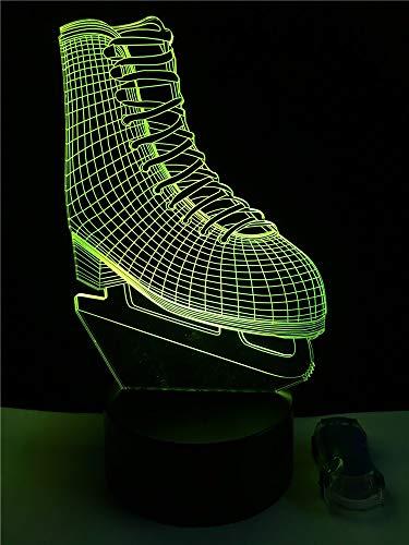 Leselampe Nachttischlampe Tischlampe Schreibtischlampe Tischleuchte Ice Blade Hockey Skate Schuhe 3D Led Lampe Acryl Mehrfarbenlicht Nachtlicht Sporting Boy