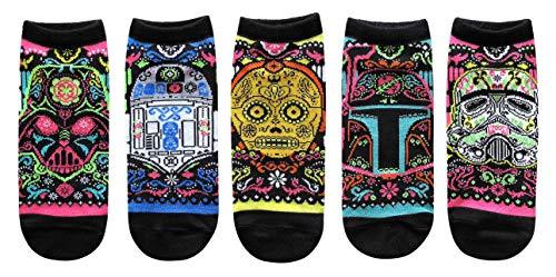Star Wars Sugar Skull Ornate Juniors/Womens 5 Pack Ankle Socks Size 4-10