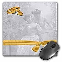3dRose LLC 8 x 8 x 0.25インチ マウスパッド、2つの花嫁ヴィンテージウェディングアートとゴールドウェディングリング(mp_164715_1)