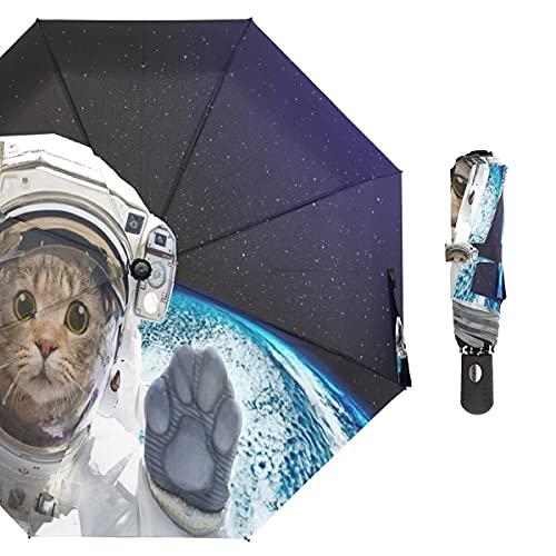 BGHYU Más Nuevo diseño Creativo Gato impresión Tres Plegables Paraguas Lluvia Mujeres duraderas portátil portátil Totalmente automático parapluie Masculino (Color : Item 2)