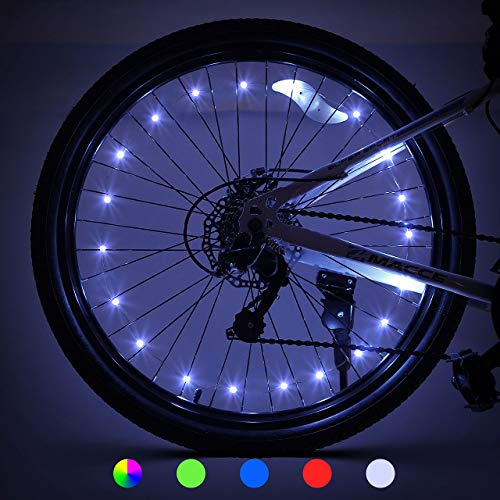 LED Bike Wheel Lights Gift for 5-12 Year Old Boys Girls, Best Gifts for Men Gifts for Teens Boys Girls Top Stocking Stuffers of 2020 Popular Gifts for Children Exercise Toys (2-Tire Pack, White)
