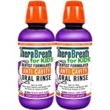TheraBreath for Kids Dentist Formulated Anti-Cavity Oral Rinse, Organic Gorilla Grape, 16 Ounce (Pack Of 2)