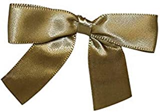 Reliant Ribbon 5171-97403-2X1 Satin Twist Tie Bows - Small Bows, 5/8 Inch X 100 Pieces, Antique Gold
