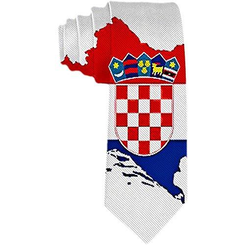 Herren Krawatte Kroatien Flag Map Polyester Seidenkrawatte