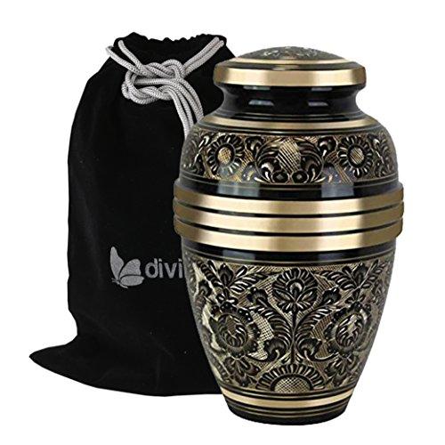 Large Golden Aura Cremation Urn - Beautifully Handcrafted Adult Funeral Urn - Solid Brass Living Garden Urn - Affordable Urn for Human Ashes with Free Velvet Bag
