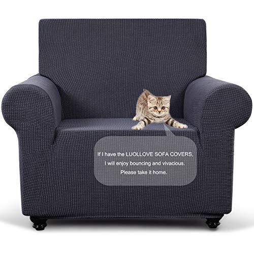 LUOLLOVE Sofa Überwürfe, Abnehmbarer Polyester Sofabezug 1 Sitzer Zuhause Dekoration Abdeckung,Staubdicht,rutschfest (1PC, Grau)