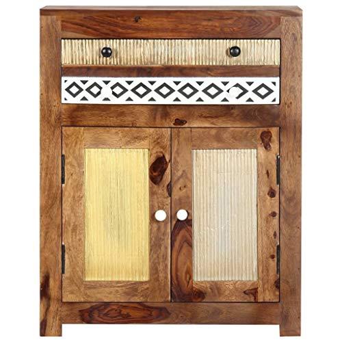 Tidyard Sheesham-Holz Massiv Beistellschrank Sideboard Kommode Anrichte Schrank Mehrzweckschrank Flurkommode Standschrank Palisander 60x30x75cm
