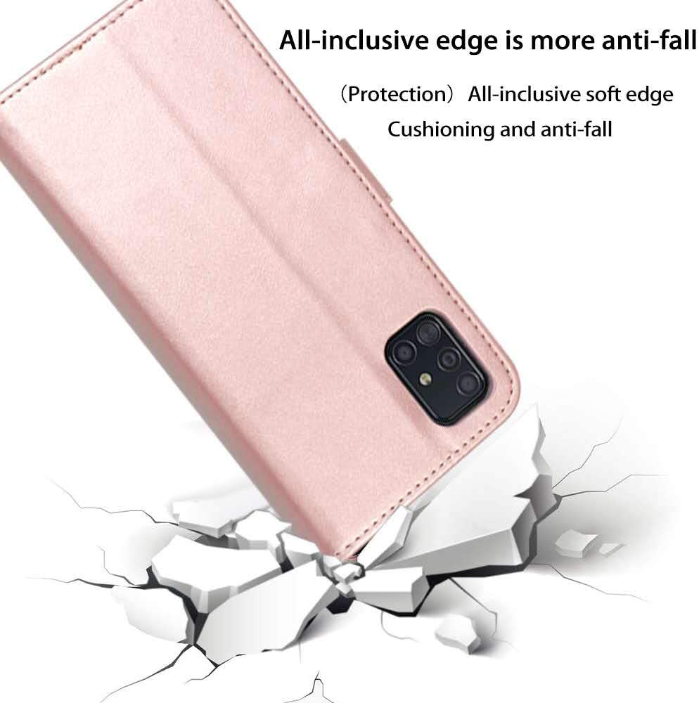 Samsung Galaxy A51 Case Rose Gold Galaxy a51 Wallet Case with Card Holder//Slot for Scalette Leather Wallet Case Cover Card Slot Built-in Magnet Shockproof Protective Flip Case for Samsung Galaxy A51