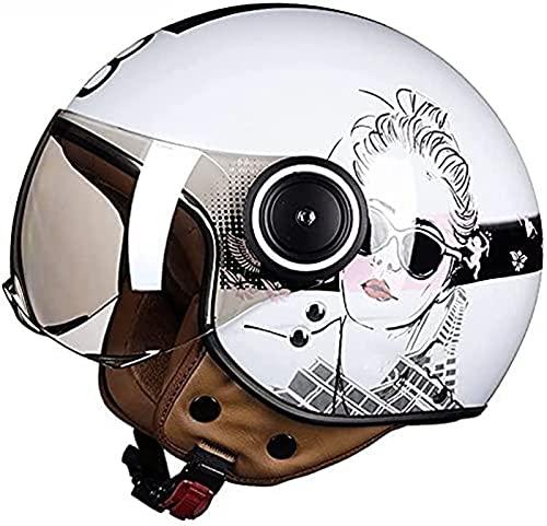 Casco De Motocicleta Abierto, Casco Jet Vintage Con Visera, Certificado ECE, Medio Casco De Motocicleta Eléctrica Retro Para Adultos, Hebilla De Liberación Rápida, Para Scooter De Crucero E,XL