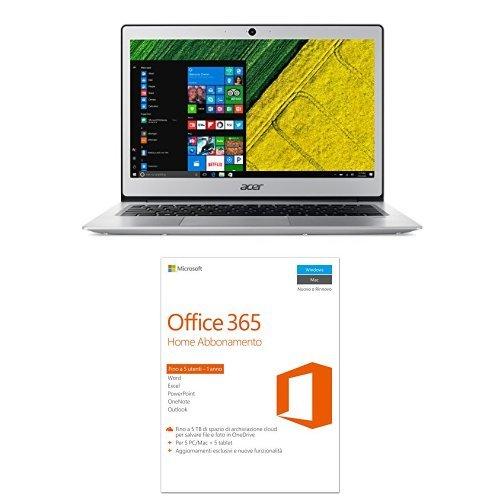 Acer Swift 1 SF113-31-P2XA Notebook, Display 13' FHD IPS LED, Processore Intel Pentium Quad Core N4200, RAM 4GB DDR3, SSD 128GB, Argento