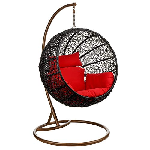 Wicker Rattan Hanging Egg Chair Swing for Indoor Outdoor Patio Backyard, Stylish Comfortable Relaxing with Cushion and Stand (Blue)