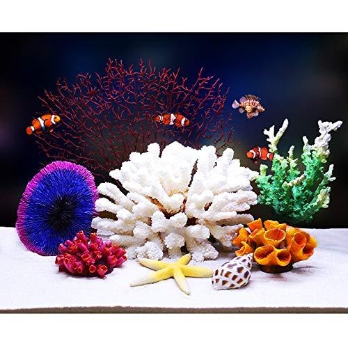 YQX-Silicone Coral, Artificial Fish Tank Coral Reef Silicone Coral Plant for Fish Tank Aquarium Landscaping Decor,4