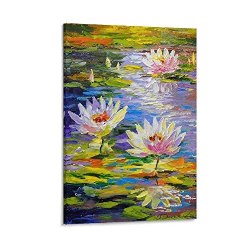 xianhao Kunstdruck auf Leinwand, Motiv Wasserlilien im Teich, modernes Design, 45 x 30 cm