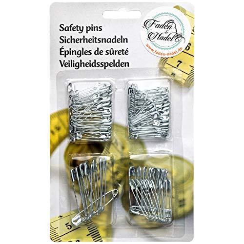 Faden & Nadel 120 Sicherheitsnadeln in 4 verschiedenen Größen (groß und klein), Sortiert