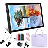 SanerCraft A4 Diamond Painting Light Pad, 2nd-Generation Ultra-Thin Tracing Drawing Board, USB Powered Adjustable Brightness Light Board with Arts Accessories