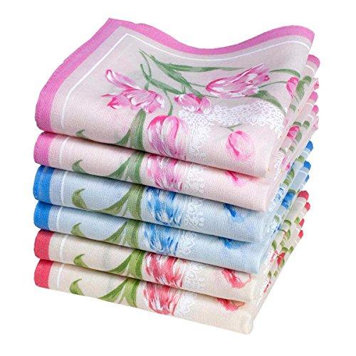 Fazzoletti di cotone da donna - 6 pezzi - Modello « Anaelle»