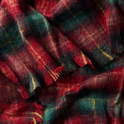 ALLES MOOI Luxuriöse MOHAIRDECKE, 110cm x 130cm. 89% natürliche Fasern. Atmungsaktiv, Leichtwichtig, Langlebig, Farbe Jungle Berry