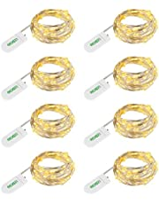 LEDGLE 8 Stuks 24 LED Koperdraad Lichtslingers 1.2M Warm Wit Fairy Lights Batterij-aangedreven Waterdichte Verlichting Flesdecoratie