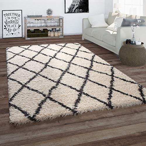 Paco Home Tapis pour Salon, Tapis Poils Longs Look Scandinave, Losanges, Beige, Dimension:160x230 cm