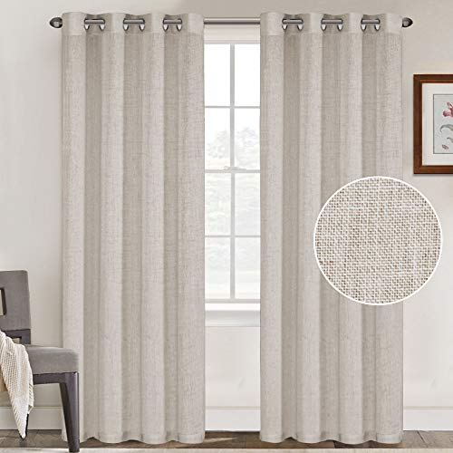 FantasDecor Natural Linen Blended Curtains Linen Curtains for Living Room Grommet Curtain Panels Privacy Added Light Filtering Window Treatments Draperies for Bedroom (2 Panels, 52x84-Inch, Angora)