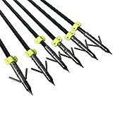 ZSHJG Flechas de Pesca de Tiro con Arco con Broadhead Diapositiva de Seguridad Pez Flecha 8mm para Arcos Recurvados Compuestos (6 Piezas)