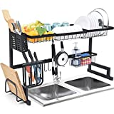 TOOLF Over the Sink Dish Drying Rack, 2-Tier Large Capacity Dish Rack, Sink Organize Stand Shelf with Utensil Holder Holder Hooks, Kitchen Countertop Supplies Storage for Plates Bowls Pots, Black