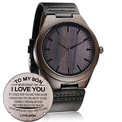 Nuovo orologio a mano in legno quarzo occasionale orologio da polso regali (Retrò Luna)
