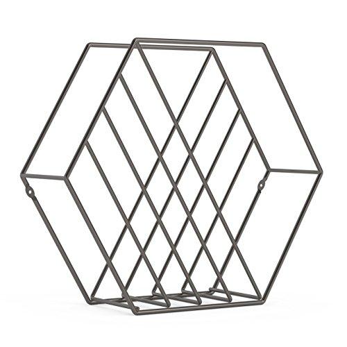 UMBRA Zina. Porte-revues Zina à poser ou à fixer au mur. En métal, finition titanium. Dimension 38x12x33cm