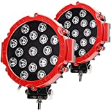 HILLSKING 51W Led Work Light, 51W 5100LM LED Light Bar, Red Round Spot Light Pods Off Road Driving Lights Fog Bumper Roof Light for Boat,SUV, Truck, Hunters, Motorcycle