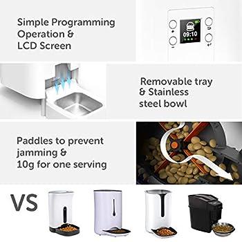 DADYPET Distributeur Croquettes Automatique pour Chats et Chiens - Distributeur de Nourriture pour Animaux Domestiques avec LCD Écran, 4 Repas/Jour-Batterie et Adaptateur