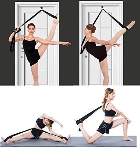 MINGZJ Streching Beinspreizer, Einfache Installation an der Tür Yoga-Gürtel,Dehnungsband für Ballett,Tanzen und Gymnastik Taekwondo (Schwarz)