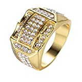 SPORTTIN Gold Rings for Men with Diamonds Stainless Steel Wedding Bands Hip Hop Pub Party Nightclub(Gold-2,8