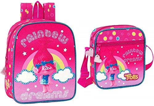 Trolls Mini Rucksack und Schultertasche Mädchen Kinderrucksack Umhängetasche Poppy rosa