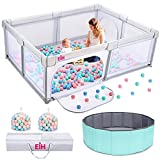 EIH Baby Playpen, Extra Large Playpen for Babies and Toddlers with Ocean Ball Pit & 100PCS Balls Indoor and Outdoor Kids Activity Play Yard with Gate 79in x 59in(Light Grey)