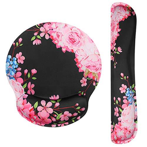 STOBOK Mauspad und Tastatur Handgelenkstütze Set, Ergonomische Handgelenkauflage, Gedächtnis-Schaum-Nicht Beleg, Wasserdicht,entlastet den Handgelenk-Druck der Tastatur und der Maus Muster der Blume