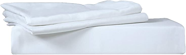 Just Linen 300 TC 100% Cotton Percale, Solid White Color, King Size Fitted Sheet with 2 Pillow Covers