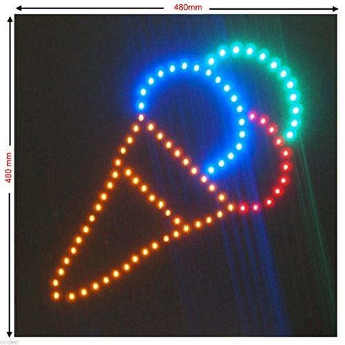 C&K LED Schild XXL Eiswaffel Werbeschild Leuchtreklame Werbung Hinweisschild Eis