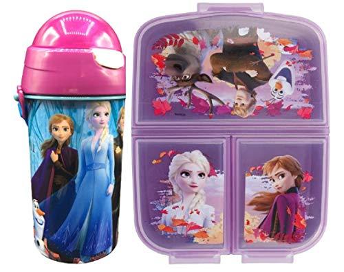 Cantimplora de Agua Infantil Frozen+ Fiambrera sandwicheras con 3 Compartimentos para ninas ninos, Botella plastica a Prueba de Fugas sin BPA Termo 500 ml