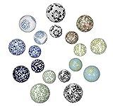 netproshop Schwimmkugeln, Dekokugeln schwimmend, Porzellan, Durchmesser 4-6-7 cm, Farbe:Blau Blüte, Auswahl1:6 cm