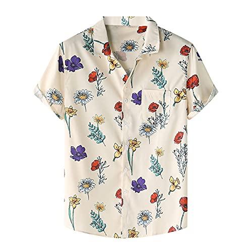 Camisa de verano para hombre, de manga corta, con botones, bolsillo frontal, estampado hawaiano, para el tiempo libre