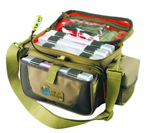 Custom Leathercraft Wild River by CLC WT3505 Tackle Tek Mission Lighted Convertible Tackle Bag with Four PT3500 Trays, Small